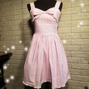 Vintage Pink & White Striped Tank Top Dress